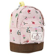 Floral Print Canvas Mini Coin Purse Key Holder Buggy Bag for Women