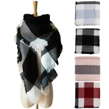 Fashion Women Tassels Plaid Cashmere Scarf Checks Shawl Pashmina Wraps