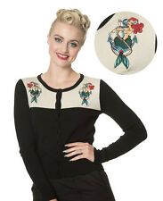 Banned Apparel Vintage Rockabilly Mermaid Cardigan Button Top - 3 Colours