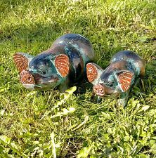 Pig Hand Carved Wood Painted Ornament Sculpture Gift Fair Trade Bali
