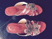 SPRING STEP LADIES SHOES CARLINA WOMEN'S GRAY/RED SANDALS SZ 40 BRAND NEW W/BOX
