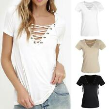 Sexy Women V-Neck Hot Summer Casual Bandage Tee Hollow Out Loose Tops T Shirt