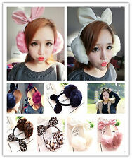 Women Winter Bow Earmuffs Ear Warm Fluffy Ear Muffs Earlap Rabbit Fox Faux Fur