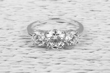 3 Stone 2.61 CT Engagement Ring Brilliant Cut Past Present Future 14K White Gold