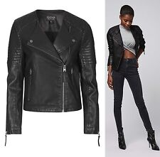 TOPSHOP Black Faux Leather Quilted Biker Bomber Jacket Duster Coat 4 6 8 10 New
