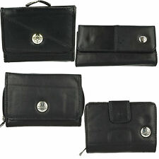 LADIES COMPASS BLACK LEATHER ZIP UP STUD PRESS FASTENING CARD HOLDER COIN PURSES