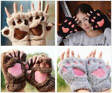 Lovely Women Cat Claw Paw Mitten Plush Glove Costume Gift Winter Half Finger TOP