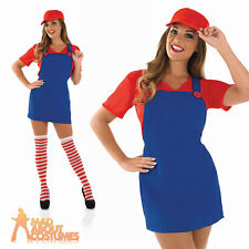 Adult Sexy Red Plumbers Mate Girl Costume 80s Super Mario Fancy Dress Outfit
