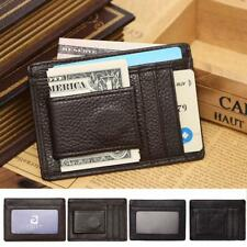 Mens Slim Credit ID Card Holder Pu Leather Wallet With Magnetic Money Clip Purse