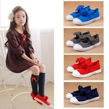 Cute Magic Tape Bowknow Maryjane Flats Canvas Shoes Plimsolls for Girls