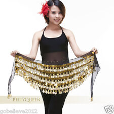 Brand New Sequins & Gold Coins Belly Dance Hip Scarf Handmade 9 Colors Available