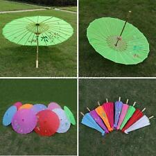 Vintage Handmade Parasol Chinese Cloth Floral Umbrella Wedding Bridal Dance Prop