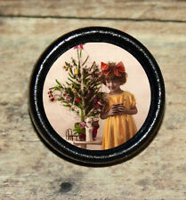 Victorian XMAS GIRL w TREE photo Altered Art Tie Tack or Ring or Brooch pin