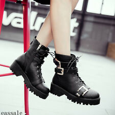 Punk Womens Belt Buckle Biker Gothic Chunky Heels Combt Riding Ankle Boots Shoes