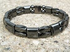 Men's Women's Magnetic ALL BLACK Hematite Bracelet Anklet 2 row Super Strong