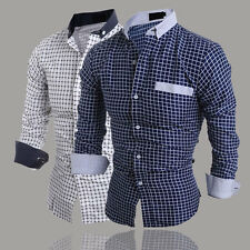 Stylish Men's Slim Fit Long Sleeve Formal Dress Shirt Casual Shirts Plaids Tops