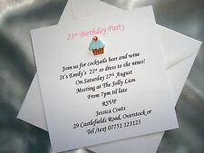 Personalised Cupcake Vintage Tea Party Birthday/Retirement Invitations