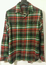 Polo by Ralph Lauren Mens Pearl Snap Cotton Flannel Shirt Size XL Elbow Patches