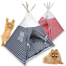 Foldable Navy/Red Striped Style Dog Cat Teepee House Tent and Pet Bed Mat E1O6