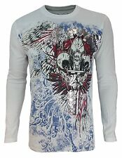 Konflic NWT Saints Fleur De Lis of Liberty Men's Graphic MMA Muscle Long Sleeve