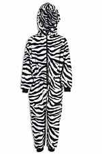 Childrens Unisex Girls Boys Zebra Animal Print All In One Pyjama Sleepsuit