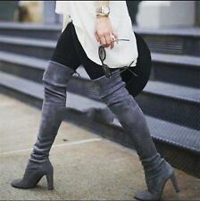 Women Round Toe Thigh High Over The Knee Boots Block High Heel Lace up boot Size