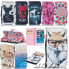 Cartoon patterned PU leather wallet case flip cover protective skin Soft TPU