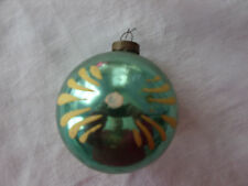 VINTAGE GREEN PAINTED GLASS CHRISTMAS ORNAMENT