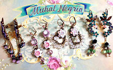 Michal Negrin earrings hook With sparkling Swarovski crystals with lever back