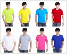 New Men'S Fit Shirt Solid Color Round Neck Slim Tee T-Shirt Tops Stylish Cotton