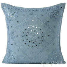 "16/20/24"" Grey Mirror Embroidered Decorative Cushion Pillow Throw Cover Bohemian"