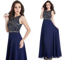 Women Long Chiffon Beaded Homecoming Evening Prom Party Bridesmaid Dresses Gown