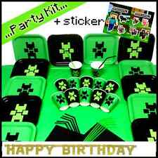 Birthday Child Party Plates Cups Banner Candles plus Minecraft official Sticker