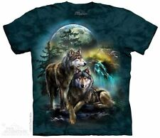 Wolf Lookout T-Shirt by The Mountain. Wild Forest Wolf Wolves Moon Sizes S-5X