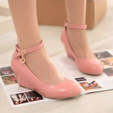 Womens wedge heels patent leather pu leather buckle ankle pumps shoes size 4.5-8