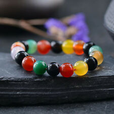 Natural Round Multicolor Agate Gemstone Beads Stone Stretchable Bracelet Bangle