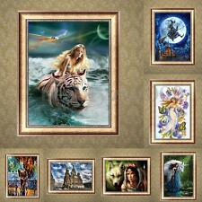 5D DIY Diamond Tiger & Girl Embroidery Painting Cross Stitch Kit Home Wall Decor