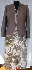 JACQUES VERT COFFEE &  PEACH RANGE PEACH SILK DEVORE SKIRT TOP COFFEE JACKET P1J