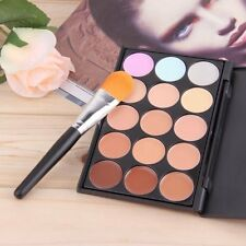 Hot 15 Colors Contour Face Cream Makeup Concealer Palette Sponge Powder Brush LC