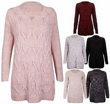 Womens New Long Sleeve Ladies Chunky Knitted Pocket Jumper Pullover Sweater Top