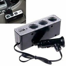 3Way Car Cigarette Lighter Socket Splitter DC Power Charger Adapter + USB12V LS