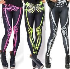 Women Ladies Sexy Skull Pants Bone Print Stretchy Skeleton Skinny Tight Leggings