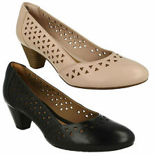 DENNY DALLAS LADIES CLARKS SLIP ON LEATHER MID HEEL WIDE FIT SMART FORMAL SHOES