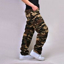 Mens Combat Military Blue Green Camouflage Army Camo Cargo Pants Casual Trousers