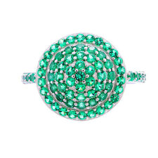 Sterling Silver Round Green Cubic Zirconia Women's Jewelry Anniversary Ring