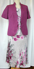JACQUES VERT JEWEL RANGE SILVER/MAGENTA SILK DEVORE SKIRT/TOP MAGENTA JACKET L1K