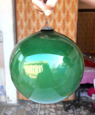 "Original Vintage Rare German 6.5"" Big Heavy Glass Green Kugel Christmas Ornament"
