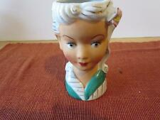 VINTAGE GIRL HEAD VASE TEAL GOLD TRIM 5 INCHES TALL
