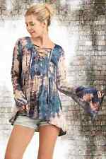 UMGEE Blue Tie Dye Lace Up Boho Gypsy Cotton Top Long Bell Sleeves