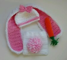 Long ear Bunny Hat, diaper cover-White & Pink-SIZES Newborn to 24 mos-handmade